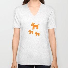 Dogs-Red Unisex V-Neck