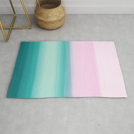 Touching Seafoam Teal Pink Watercolor Abstract #1 #painting #decor #art #society6 Rug