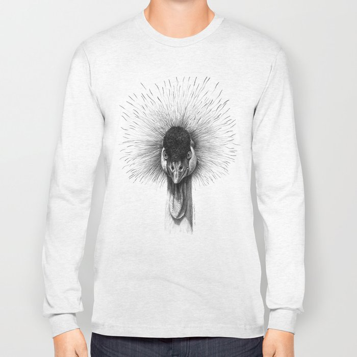 Black Crowned Crane G2012-065 Long Sleeve T-shirt