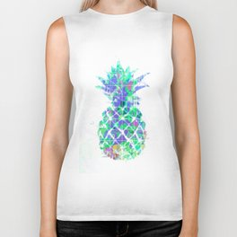 pineapple in green blue yellow with geometric triangle pattern abstract Biker Tank