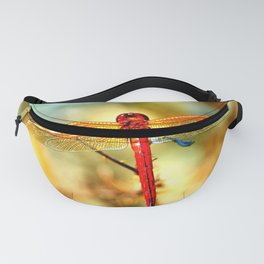 Glistening Red Dragonfly Fanny Pack