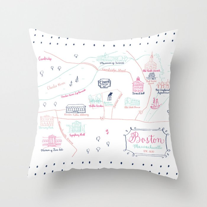Illustrated Calligraphy Map Throw Pillow