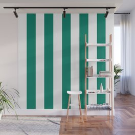 Generic viridian green - solid color - white vertical lines pattern Wall Mural
