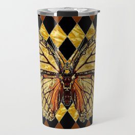 ABSTRACTED BROWN & GOLD MONARCH BUTTERFLY Travel Mug