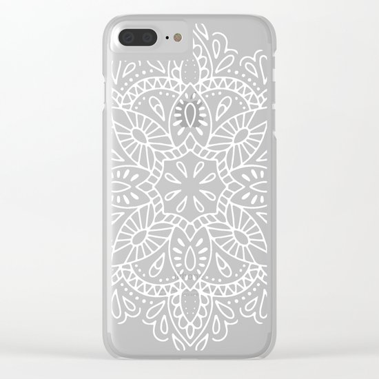 Mandala Vintage White on Ocean Fog Gray Clear iPhone Case