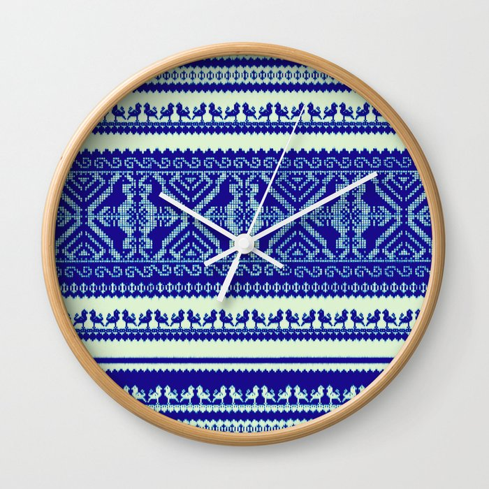 nordic pattern with singing birds in blue Wall Clock