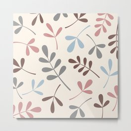 Assorted Leaf Silhouettes Pastel Colors Metal Print