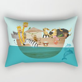 Noahs Ark with Animals– Illustration for the childrens room of girls and boys Rectangular Pillow