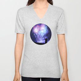 Blue and pink fireworks Unisex V-Neck
