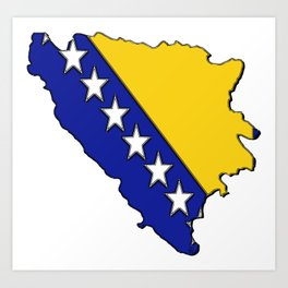 Bosnia and Herzegovina Map with Flag Art Print
