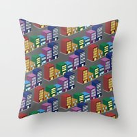 buildings Throw Pillows featuring buildings by mike lett