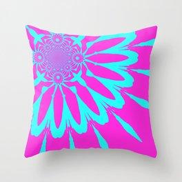 The Modern Flower Fushia & Turquoise Throw Pillow