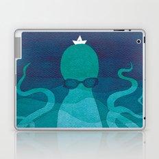 Octopus, sea creature, animals, ocean watercolor teal blue Laptop & iPad Skin