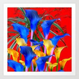 YELLOW & AZURE BLUE CALLA LILIES RED ART Art Print