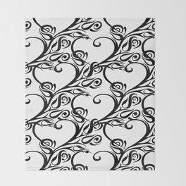 Tribal heart rose pattern white Throw Blanket