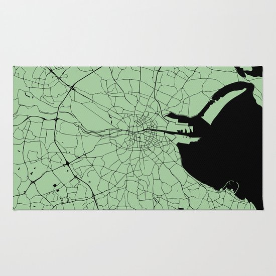 Dublin Ireland Green On Black Street Map Rug By Mapmaker