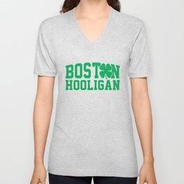 Boston Hooligan Green Shamrock St Patricks Day Cool Unisex V-Neck