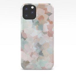 Blush Pink Mint Green Blue Coral Peach Abstract Flower Wall Art Springtime Painting Modern Wall Art iPhone Case