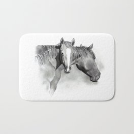 Horse Mare and Foal, Pencil Drawing, Equine Art Bath Mat