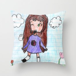 The Girl on the Grass Number Two Throw Pillow