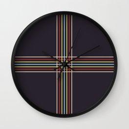 Retro Colored Thin Lined Cross Wall Clock