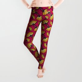 African Floral Motif on Pink Leggings