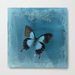 Butterfly Blues, Faux Metal, Insect, Nature, Black, Silver Metal Print