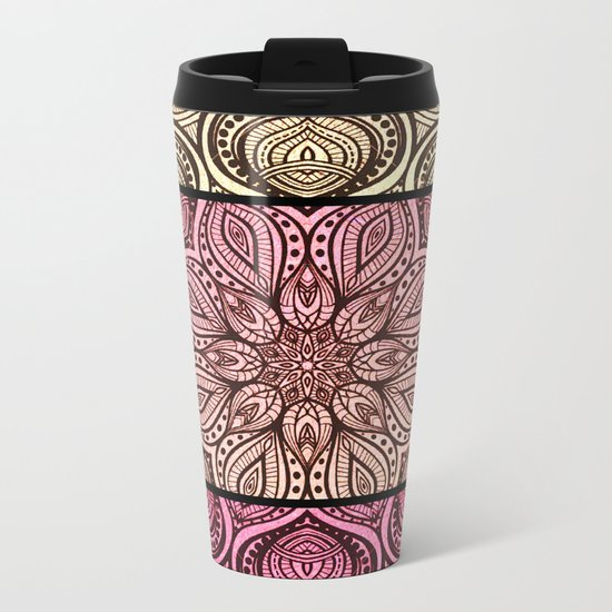 Henna Tattoo Pinks Metal Travel Mug