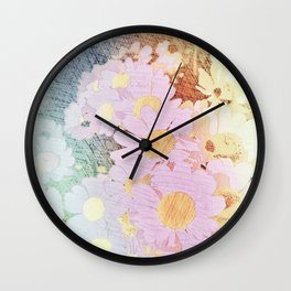 Pink Sorbet Chamomile Flowers Wall Clock