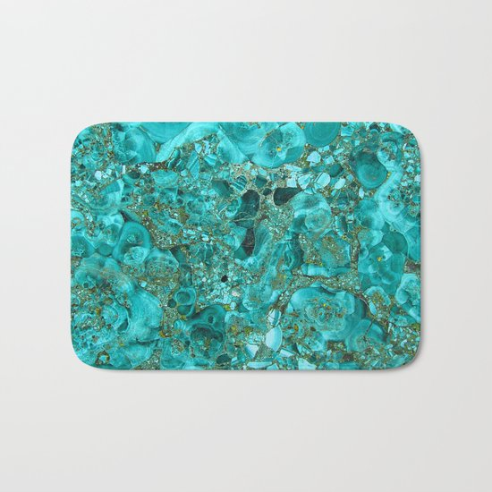 Marble Turquoise Blue Gold Bath Mat