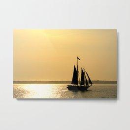 Silhouette Ship Metal Print