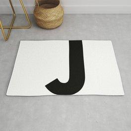 Letter J (Black & White) Rug