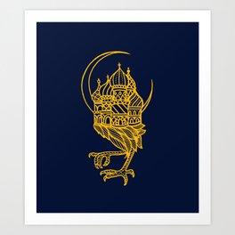 Baba Yaga Blue Gold Art Print