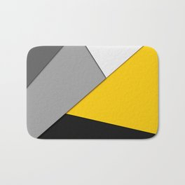 Simple Modern Gray Yellow and Black Geometric Bath Mat