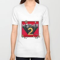 earthbound V-neck T-shirts featuring Alternative Mother 2 / Earthbound Title Screen by Studio Momo╰༼ ಠ益ಠ ༽