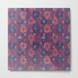 Lotus flower - mulberry woodblock print style pattern Metal Print