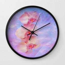 Rosa Orchideen Wall Clock