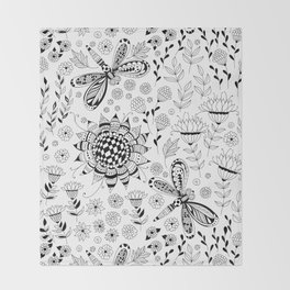Dragonflies and flowers Throw Blanket