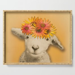 Daisies Sheep Girl Portrait, Mustard Yellow Texturized Background Serving Tray