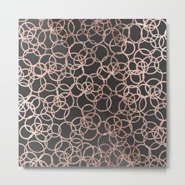 Modern Rose Gold Circles on Charcoal Black Metal Print