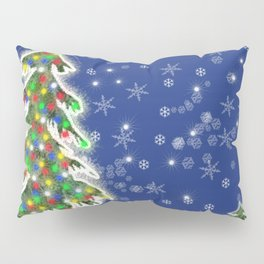 Lighted Christmas Tree at Night with Snowflakes Pillow Sham