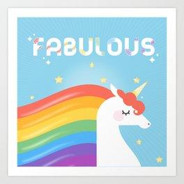 Fabulous Sparkling Rainbow Unicorn Art Print