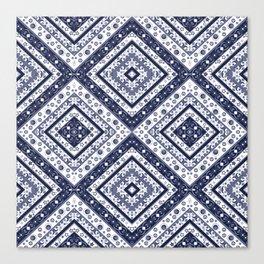 Strict , white blue ornament. Canvas Print