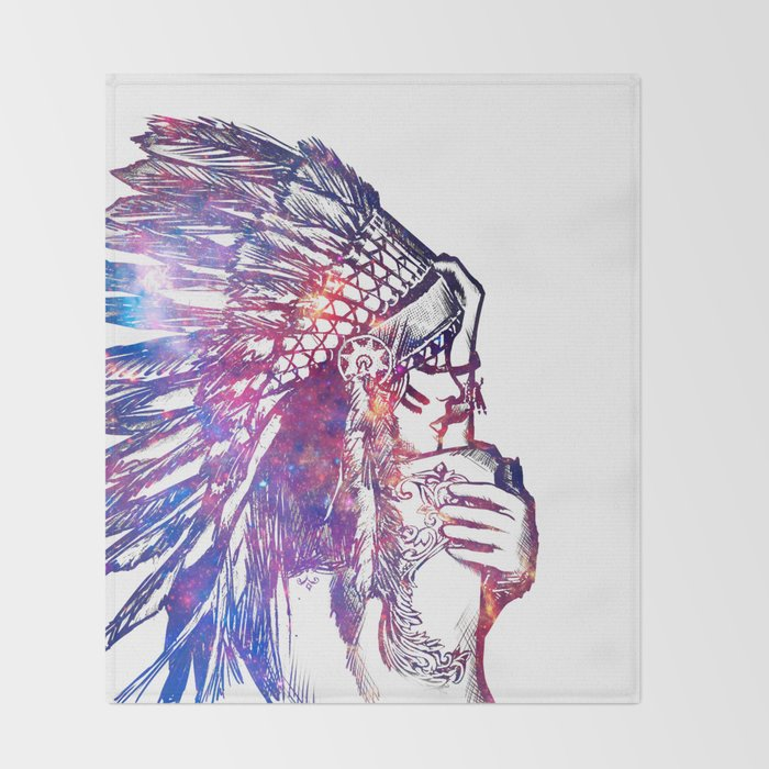 Space Indian Throw Blanket