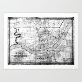 Vintage Map of Cincinnati Ohio (1838) BW Art Print