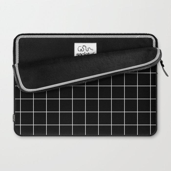 Grid Simple Line Black Minimalist Laptop Sleeve