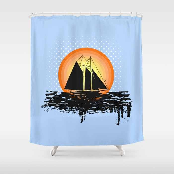 Grunge Sailing Shower Curtain By Society6comanastasia