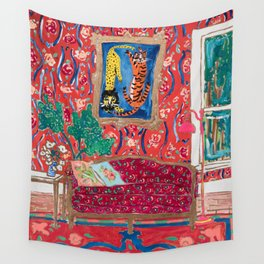 Red Interior with Lion and Tiger after Matisse Wall Tapestry