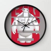 big hero 6 Wall Clocks featuring Baymax - Big Hero 6 by Nguyen
