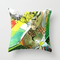 donkey kong Throw Pillows featuring I WILL DEFEAT DONKEY KONG by Samantha Chiusolo